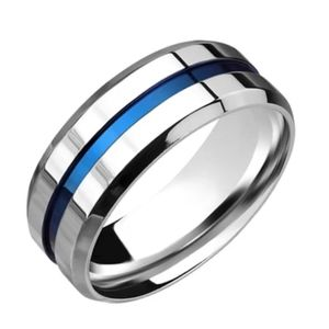 Silver Blue Lined Stainless Steel Ring Sz 13